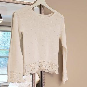 Girls White Knit Sweater 8-10Y